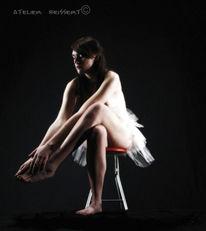 Sitzen, Ballerina, Fuß, Tanz