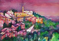 Aquarellmalerei, Landschaft, Stadt, Dorf