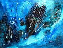 Spontan, Blau, Schwung, Acrylmischtechnik