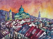 Salzburg, Stadtansicht, Malerei, Aquarellmalerei