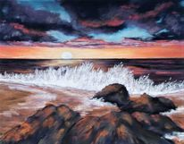 Welle, Meer, Wolken, Strand