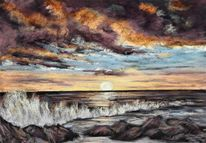 Meerblick, Sonne, Meer, Sonnenuntergang