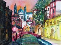 Fluss, Aquarellmalerei, Venedig, Rio