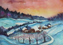 Schneelandschaft, Aquarellmalerei, Winter, Emmental