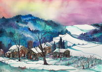 Winteraquarell, Schneelandschaftaft, Aquarellmalerei, Landscape in winter
