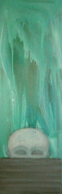 Kopf, Schwarz weiß, Grün, Malerei