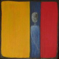 Blau, Rot schwarz, Figur, Gelb