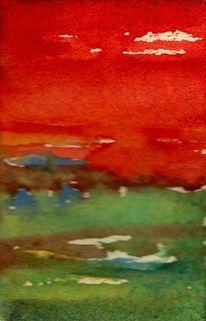 Grün, Aquarellmalerei, Rot, Abstrakt