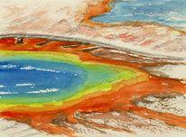 Aquarellmalerei, Landschaft, Yellowstone, Aquarell