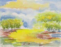Landschaft, Aquarellmalerei, Aquarell