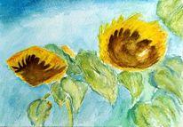 Sonnenblumen, Aquarellmalerei, Aquarell