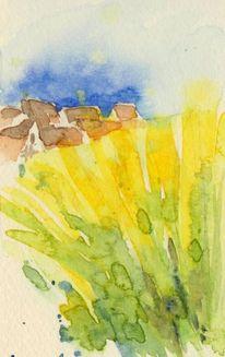 Landschaft, Raps, Häuser, Aquarellmalerei