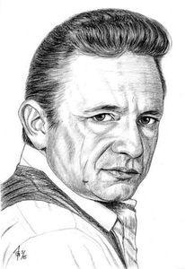 Bleistiftzeichnung, Cash, Prominent, Portrait