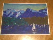 Mischtechnik, Zürichsee, Pastellmalerei, Landschaft