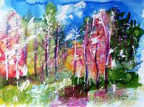 Tuschezeichnung, Abstrakt, Landschaft, Natur