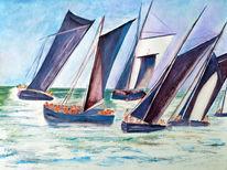 Aquarellmalerei, See, Segelboot, Aquarell