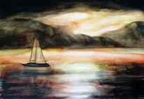 Natur, Meer, Temperamalerei, Segelschiff