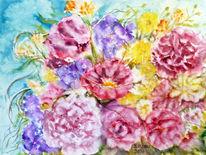 Blumenmalerei, Dekoration, Aquarellmalerei, Stillleben