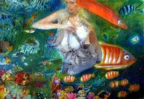 Acrylmalerei, Unterwasserwelt, Frau, Collage