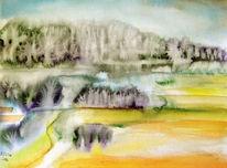 Feld, Wald, Aquarellmalerei, Landschaft