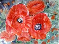 Blumenmalerei, Stillleben, Aquarellmalerei, Mohnblumen