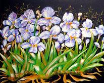 Schwertlilien, Blumen, Stillleben, Acrylmalerei