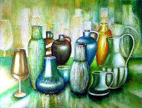 Stillleben, Gefässe, Acrylmalerei, Malerei