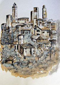 Architektur, Italien, Aquarellmalerei, Landschaft