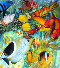 Collage, Aquarellmalerei, Natur, Fische