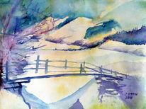 Aquarellmalerei, Schnee, Landschaft, Brücke