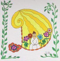 Buddha, Buchstaben, Farben, Blumen