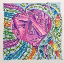 Herz, Aquarellmalerei, Zeichnung, Fantasie