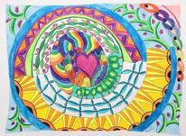 Lebensfreude, Fantasie, Aquarellmalerei, Zeichnung
