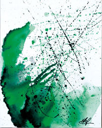 Grün, Gouachemalerei, Explusion3, Spritztechnik
