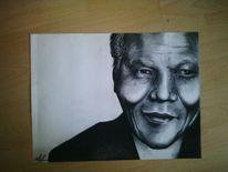 Schwarz weiß, Kohlezeichnung, Nelson mandela, Portrait