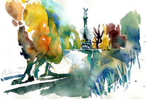 Friedensengel, Herbst, Aquarellmalerei, München
