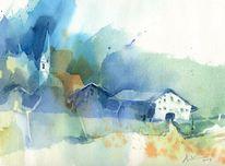 Bauernhof, Bayer, Aquarellmalerei, Aquarell