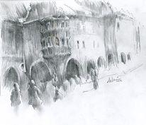Hofbräuhaus, Bleistiftzeichnung, Zeichnungen, Zeichnung
