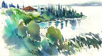 Lago di garda, Punta, Gardasee, Aquarellmalerei