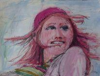 Portrait, Wind, Schal, Frau