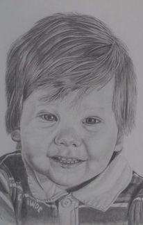 Kind, Bleistiftzeichnung, Junge portrait, Zeichnungen