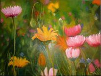 Bunt, Frühlingswiese, Blumenwiese, Malerei