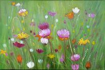 Gras, Blumenwiese, Bunt, Malerei