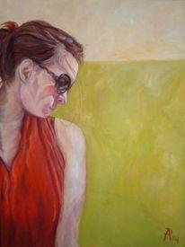 Rot, Mädchen, Kleid, Malerei