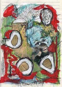 Tagebuch, Mann, Baumstumpf, Rinde