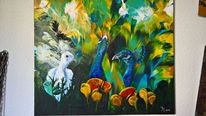 Pfau, Acrylmalerei, Vogel, Malerei