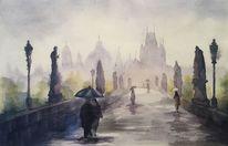 Karlsbrücke, Aquarellmalerei, Prag, Praha