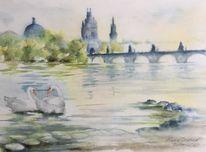 Karlsbrücke, Moldau, Prag, Aquarell