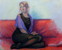 Portrait, Interieur, Freindin, Malerei