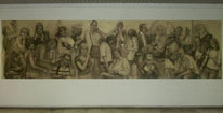 Jahrhundert, Portrait, Zeichnung, Fragment